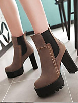 cheap -Women's Shoes PU Winter Comfort Boots Chunky Heel for Casual Black Gray Brown