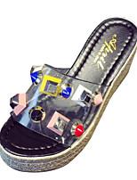 cheap -Women's Shoes PU(Polyurethane) Summer Comfort Slippers & Flip-Flops Wedge Heel Rivet Black / Beige