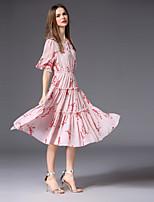 cheap -FRMZ Women's Cute Flare Sleeve Chiffon / Swing Dress - Floral Bow / Patchwork