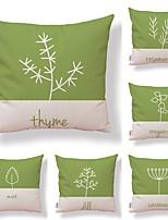 cheap -6 pcs Textile / Cotton / Linen Pillow case, Botanical / Art Deco / Printing Square Shaped / Creative