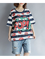 economico -T-shirt Per donna Vintage Nappa, Tinta unita Blu e bianco