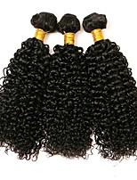 Недорогие -3 Связки Перуанские волосы Kinky Curly Натуральные волосы Человека ткет Волосы / Пучок волос / Накладки из натуральных волос 8-28 дюймовый Ткет человеческих волос