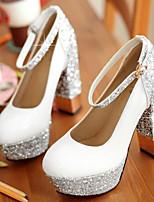 baratos -Mulheres Sapatos Couro Ecológico Verão Conforto Saltos Salto Robusto Branco / Preto / Prata / Festas & Noite / Festas & Noite