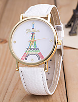 cheap -Women's Wrist Watch Chinese Casual Watch / Eiffel Tower Leather Band Colorful / Fashion Black / White / Blue