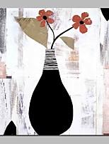 preiswerte -Hang-Ölgemälde Handgemalte - Abstrakt Blumenmuster / Botanisch Retro Segeltuch