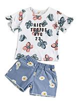 cheap -Kids Girls' Print Short Sleeves Clothing Set