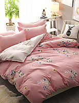 cheap -Duvet Cover Sets Floral Poly / Cotton Polyster Reactive Print 4 Piece