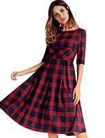 economico -Per donna Essenziale Swing Vestito - Con stampe, A quadri Al ginocchio