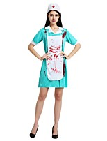 cheap -Doctor Outfits Women's Halloween / Carnival / Day of the Dead Festival / Holiday Halloween Costumes Blue Solid Colored / Halloween