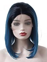 Недорогие -Синтетические кружевные передние парики Прямой Стрижка боб / Средняя часть 150% Человека Плотность волос Искусственные волосы Жаропрочная
