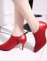 cheap -Women's Shoes PU Spring Comfort Boots Stiletto Heel for Casual Black Red