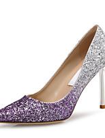 abordables -Femme Chaussures Polyuréthane Printemps été Escarpin Basique Chaussures à Talons Talon Aiguille Bout pointu Paillette Violet / Rouge /