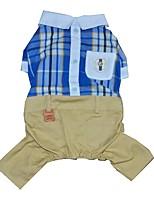 preiswerte -Hunde / Katzen / Haustiere Overall Hundekleidung Plaid / Karomuster / Vintage / Britisch Rot / Blau Baumwolle / Polyester Kostüm Für
