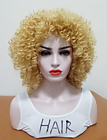 cheap -Synthetic Wig Curly Side Part Heat Resistant With Bangs Blonde Women's Capless Natural Wigs Mid Length Synthetic Hair Daily