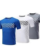 abordables -BARBOK Homme Col Ras du Cou Couche de Base - Blanc, Bleu, Gris Des sports Tee-shirt Manches Courtes Tenues de Sport Léger, Séchage