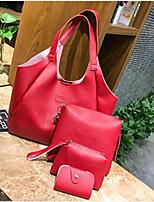 cheap -Women's Bags PU Bag Set 4 Pieces Purse Set Buttons / Zipper Black / Red / Gray