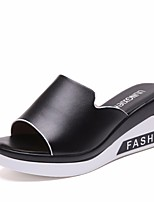 cheap -Women's Shoes PU Summer Comfort Slippers & Flip-Flops Creepers for Casual White Black