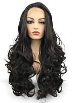 Недорогие -Синтетические кружевные передние парики Кудрявый Средняя часть Искусственные волосы Парик в афро-американском стиле Темно-коричневый Парик