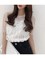 abordables -Tee-shirt Femme, Couleur Pleine - Coton Glands Rétro Manche Gigot Noir & Blanc