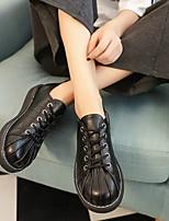 Недорогие -Жен. Обувь Полиуретан Весна Удобная обувь Кеды На плоской подошве Белый / Черный / Бежевый