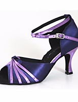 cheap -Women's Latin Shoes Silk Heel Performance Practice Stiletto Heel Purple Silver / Black