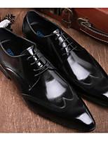 Недорогие -Муж. обувь Кожа Весна Удобная обувь Туфли на шнуровке Черный / Вино