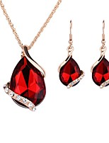 cheap -Women's Jewelry Set - Gold Plated Simple, Lovely, Fashion Include Choker Necklace / Pendant Necklace / Bridal Jewelry Sets Red For Wedding / Evening Party