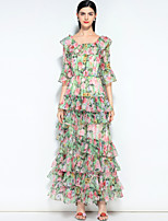 cheap -MARY YAN&YU Women's Vintage / Street chic Swing Dress - Floral Layered / Print