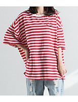 cheap -Women's Basic / Street chic T-shirt - Striped Embroidered