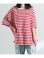 economico -T-shirt Per donna Essenziale / Moda città Con ricami, A strisce