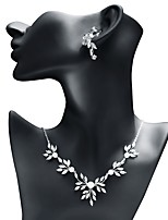 cheap -Women's Cubic Zirconia Jewelry Set - Leaf, Ball Sweet, Fashion Include Drop Earrings / Pendant Necklace White For Wedding / Evening Party