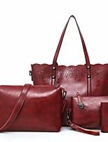 cheap -Women's Bags PU Bag Set 4 Pieces Purse Set Zipper Red / Camel / Gray