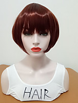 cheap -Synthetic Wig Straight Bob Haircut With Bangs Medium Size Women Burgundy Women's Capless Cosplay Wig Mid Length Synthetic Hair Daily