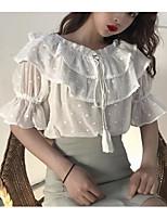 economico -T-shirt Per donna Vintage Nappa, Tinta unita In bianco e nero / Blu e bianco