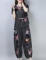 abordables -Femme Manche Gigot Set - Couleur Pleine, Brodée Pantalon