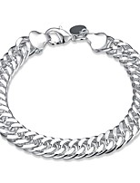 cheap -Men's Women's 1 Chain Bracelet - Simple Cool Circle Geometric Silver Bracelet For Daily Work