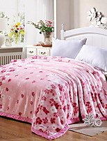 cheap -Coral fleece, Jacquard Flower Cotton / Polyester Blankets