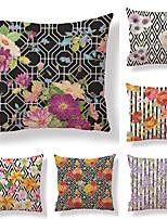cheap -6 pcs Textile / Cotton / Linen Pillow case, Floral / Geometric / Printing Square Shaped / Vintage
