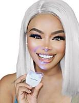 abordables -Perruque Synthétique Droit Coupe Carré Ajustable Résistant à la chaleur Ligne de Cheveux Naturelle Blanc Femme Dentelle frontale Perruque