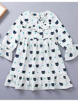 abordables -Enfants Fille Géométrique Manches Longues Robe