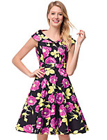 cheap -TS - Dreamy Land Women's Going out Skater Dress - Floral V Neck