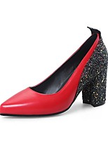 cheap -Women's Shoes Patent Leather / Leatherette Spring / Fall Basic Pump Heels Chunky Heel Pointed Toe Sequin White / Black / Red