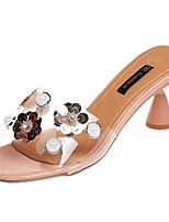 cheap -Women's Shoes PU(Polyurethane) Summer Slingback Slippers & Flip-Flops Flared Heel Black / Beige / Pink