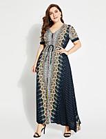baratos -Mulheres Moda de Rua Boho balanço Vestido Geométrica Longo
