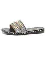 cheap -Women's Shoes PU(Polyurethane) Summer Comfort Slippers & Flip-Flops Flat Heel Round Toe Pearl Gold / Silver