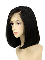 cheap -Remy Human Hair Wig Indian Hair Straight Side Part Short Bob Bob Haircut 130% Density Silky With Bleached Knots Side Part Natural