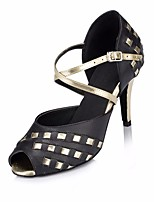 cheap -Women's Latin Shoes PU Heel Performance / Practice Stiletto Heel Dance Shoes Black