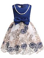 cheap -Kids Toddler Girls' Blue & White Print Sleeveless Dress