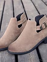 Недорогие -Жен. Обувь Нубук Наступила зима Ботильоны Ботинки На низком каблуке Круглый носок Ботинки Черный / Верблюжий / Темно-зеленый