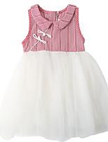 baratos -Infantil / Bébé Para Meninas Sólido / Estampa Colorida / Xadrez Sem Manga Vestido